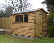 weatherboarded garden shed